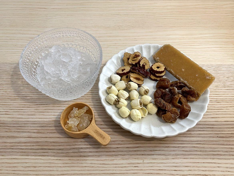 雪燕紅棗桂圓蓮子糖水材料